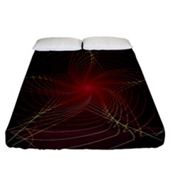Fractal Red Star Isolated On Black Background Fitted Sheet (california King Size) by Amaryn4rt