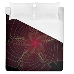 Fractal Red Star Isolated On Black Background Duvet Cover (queen Size) by Amaryn4rt