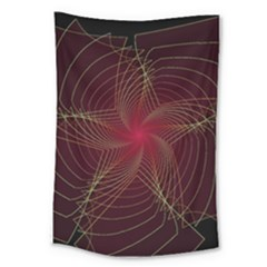 Fractal Red Star Isolated On Black Background Large Tapestry
