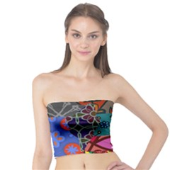 Digitally Created Abstract Patchwork Collage Pattern Tube Top by Amaryn4rt