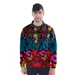 Digitally Created Abstract Patchwork Collage Pattern Wind Breaker (men) by Amaryn4rt