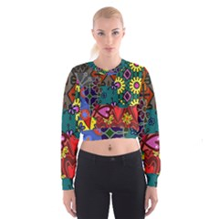 Digitally Created Abstract Patchwork Collage Pattern Women s Cropped Sweatshirt by Amaryn4rt
