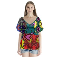 Digitally Created Abstract Patchwork Collage Pattern Flutter Sleeve Top by Amaryn4rt