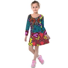 Digitally Created Abstract Patchwork Collage Pattern Kids  Long Sleeve Velvet Dress by Amaryn4rt