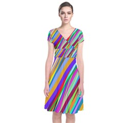 Multi Color Tangled Ribbons Background Wallpaper Short Sleeve Front Wrap Dress by Amaryn4rt