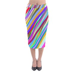 Multi Color Tangled Ribbons Background Wallpaper Velvet Midi Pencil Skirt by Amaryn4rt