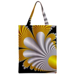 Fractal Gold Palm Tree On Black Background Zipper Classic Tote Bag by Amaryn4rt