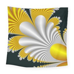 Fractal Gold Palm Tree On Black Background Square Tapestry (large)