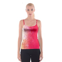 Abstract Red And Gold Ink Blot Gradient Spaghetti Strap Top