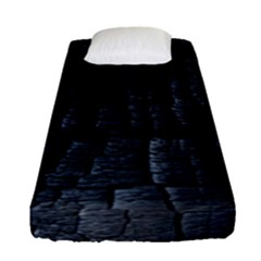 Black Burnt Wood Texture Fitted Sheet (single Size) by Amaryn4rt