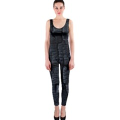 Black Burnt Wood Texture Onepiece Catsuit by Amaryn4rt