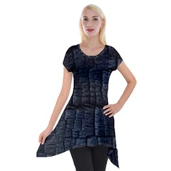 Black Burnt Wood Texture Short Sleeve Side Drop Tunic by Amaryn4rt