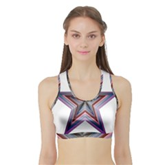 Star Abstract Geometric Art Sports Bra With Border by Amaryn4rt
