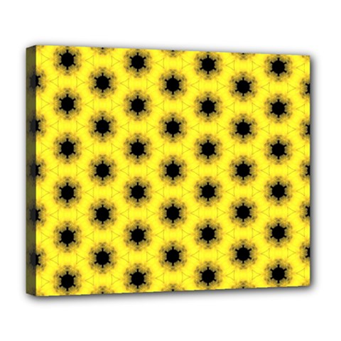 Yellow Fractal In Kaleidoscope Deluxe Canvas 24  X 20   by Amaryn4rt