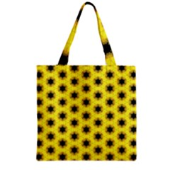 Yellow Fractal In Kaleidoscope Grocery Tote Bag by Amaryn4rt
