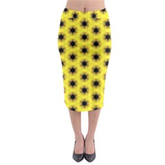 Yellow Fractal In Kaleidoscope Midi Pencil Skirt by Amaryn4rt