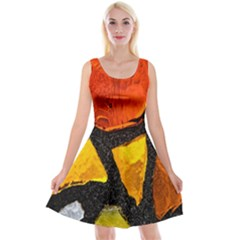 Colorful Glass Mosaic Art And Abstract Wall Background Reversible Velvet Sleeveless Dress