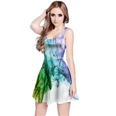 Colour Smoke Rainbow Color Design Reversible Sleeveless Dress