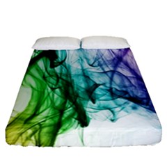 Colour Smoke Rainbow Color Design Fitted Sheet (Queen Size)