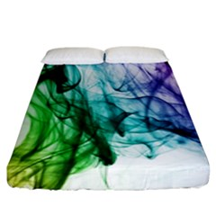 Colour Smoke Rainbow Color Design Fitted Sheet (King Size)