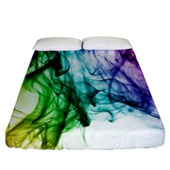 Colour Smoke Rainbow Color Design Fitted Sheet (California King Size)