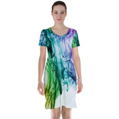 Colour Smoke Rainbow Color Design Short Sleeve Nightdress
