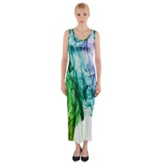 Colour Smoke Rainbow Color Design Fitted Maxi Dress