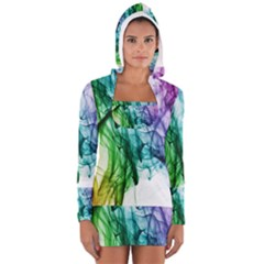Colour Smoke Rainbow Color Design Women s Long Sleeve Hooded T-shirt