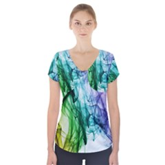 Colour Smoke Rainbow Color Design Short Sleeve Front Detail Top