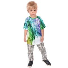 Colour Smoke Rainbow Color Design Kids  Raglan Tee by Amaryn4rt