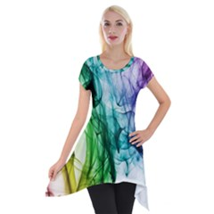 Colour Smoke Rainbow Color Design Short Sleeve Side Drop Tunic
