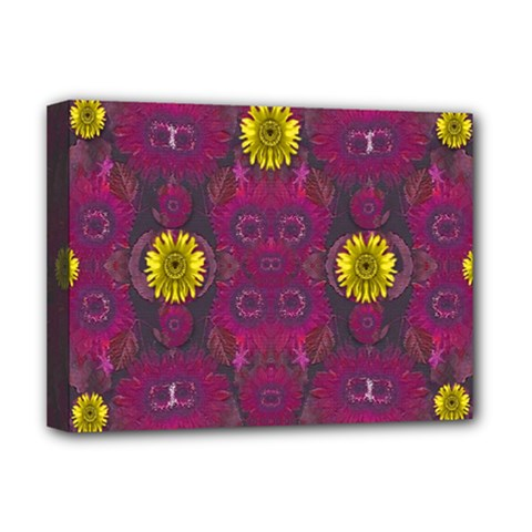 Colors And Wonderful Sun  Flowers Deluxe Canvas 16  X 12   by pepitasart