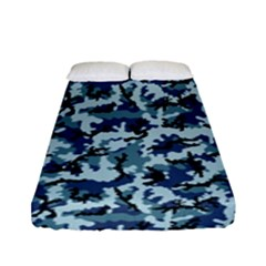 Navy Camouflage Fitted Sheet (full/ Double Size) by sifis