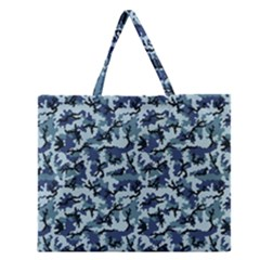 Navy Camouflage Zipper Large Tote Bag by sifis