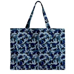 Navy Camouflage Medium Zipper Tote Bag