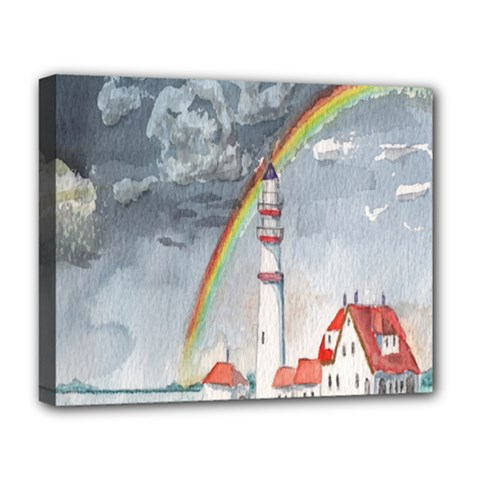 Watercolour Lighthouse Rainbow Deluxe Canvas 20  X 16   by Amaryn4rt