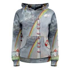 Watercolour Lighthouse Rainbow Women s Pullover Hoodie