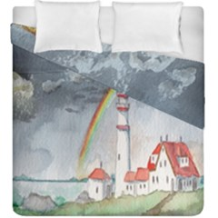 Watercolour Lighthouse Rainbow Duvet Cover Double Side (king Size) by Amaryn4rt