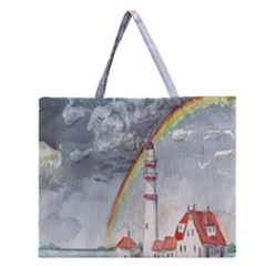 Watercolour Lighthouse Rainbow Zipper Large Tote Bag by Amaryn4rt