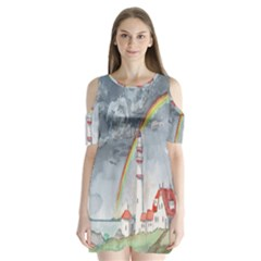 Watercolour Lighthouse Rainbow Shoulder Cutout Velvet  One Piece by Amaryn4rt