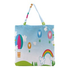Landscape Sky Rainbow Garden Grocery Tote Bag by Amaryn4rt