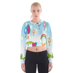 Landscape Sky Rainbow Garden Women s Cropped Sweatshirt by Amaryn4rt