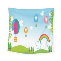 Landscape Sky Rainbow Garden Square Tapestry (small) by Amaryn4rt