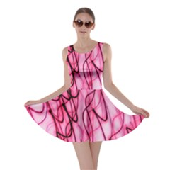 An Unusual Background Photo Of Black Swirls On Pink And Magenta Skater Dress by Amaryn4rt