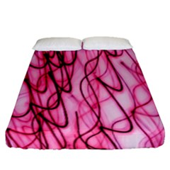 An Unusual Background Photo Of Black Swirls On Pink And Magenta Fitted Sheet (queen Size) by Amaryn4rt