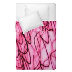 An Unusual Background Photo Of Black Swirls On Pink And Magenta Duvet Cover Double Side (single Size) by Amaryn4rt
