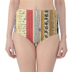 Digitally Created Collage Pattern Made Up Of Patterned Stripes High-waist Bikini Bottoms by Amaryn4rt