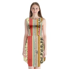 Digitally Created Collage Pattern Made Up Of Patterned Stripes Sleeveless Chiffon Dress