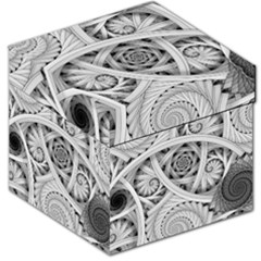 Fractal Wallpaper Black N White Chaos Storage Stool 12   by Amaryn4rt