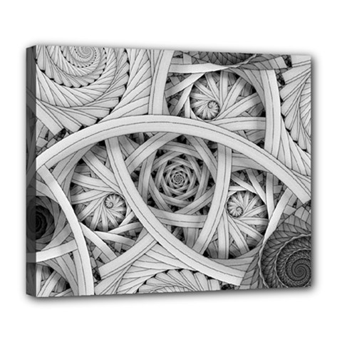 Fractal Wallpaper Black N White Chaos Deluxe Canvas 24  X 20   by Amaryn4rt